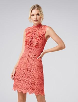 Forever New Ena Lace Mini Dress - Tangerine - 6