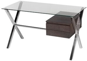 Wade Logan Emiliano Glass Desk Color (Frame): Espresso/Silver