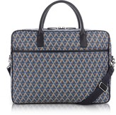Lancaster Paris Ikon Blue Coated Canvas Men's Briefcase
