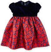 Oscar de la Renta Cap-Sleeve Velvet & Mikado Dress, Navy/Ruby, Size 12-24 Months