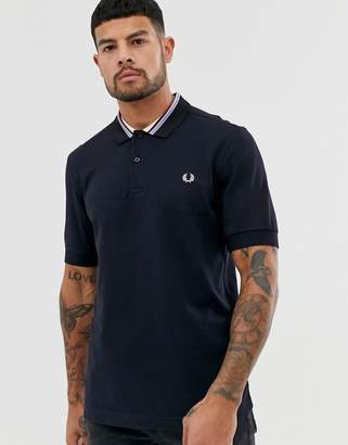 Fred Perry stripe collar pique polo in navy