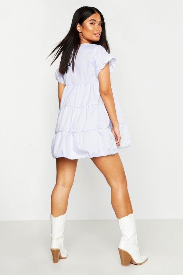 Thumbnail for your product : boohoo Petite Broderie Anglaise Smock Dress