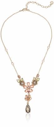 Anne Klein Women's 16 Inch Flower Y Neck Gold/Blush Choker Necklace