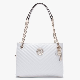 GUESS Blakely Status Luxe White Quilted Shoulder Bag