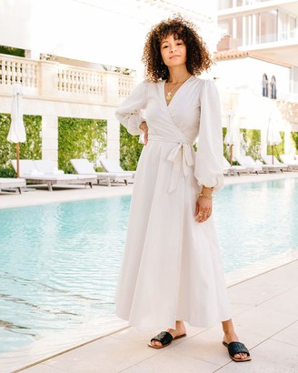 The Drop Women's Ivory Semi-Sheer Balloon-Sleeve Wrap Maxi Dress by @scoutthecity XL