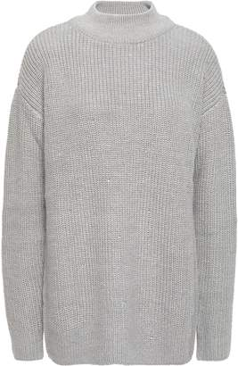 MICHAEL Michael Kors Crystal-embellished Metallic Ribbed-knit Sweater