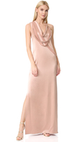Halston Sleeveless Slip Gown with Draped Strips