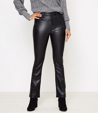 LOFT Petite Faux Leather Flare Crop Jeans in Black