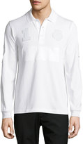 Brioni Long-Sleeve Polo Shirt, White Solid