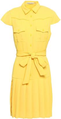 Alice + Olivia Belted Pleated Crepe Mini Dress