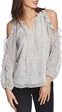 1 STATE Serene Printed Cold-Shoulder Top