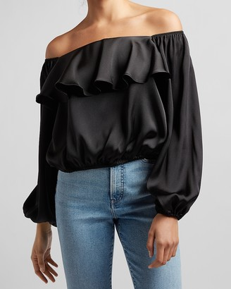 Express Satin Off The Shoulder Ruffle Top