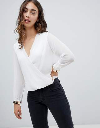 Qed London QED London Cross Front Blouse With Trim Detail-Cream