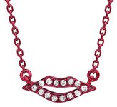 As 29 AS29 Women's 18ct Red Gold Round White Diamonds Mini Lips Necklace of Length 38-40cm