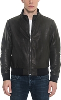 Forzieri Black Leather and Nylon Men's Reversible Jacket