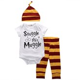 Charm Kingdom Baby Snuggle this Muggle Bodysuit and Striped Pants Outfit with Hat