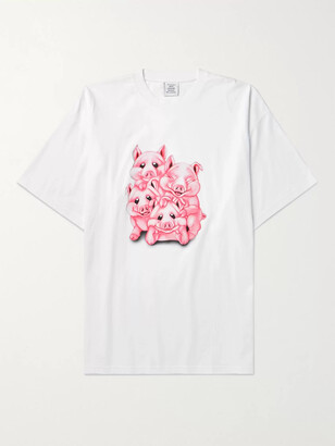 Vetements Oversized Glittered Printed Cotton-Jersey T-Shirt