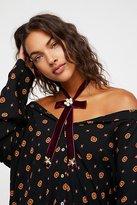 Free People Bordeaux Velvet Bow Necklace