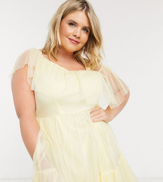 Anaya Plus Anaya With Love Plus frilly one shoulder tiered midi dress in yellow