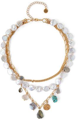 Chan Luu 3-Row Stone & Pearl Necklace