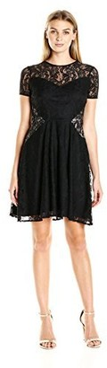 London Times Women's Tulip Lace Full Skirt Dress with Short Sleeves