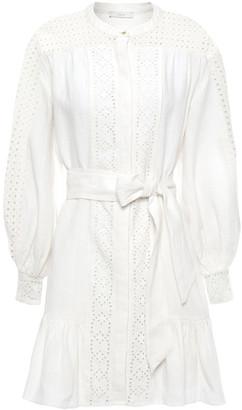 Joie Bastina Ruffled Broderie Anglaise Linen Mini Dress