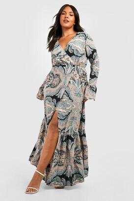 boohoo Plus Paisley Wrap Maxi Dress