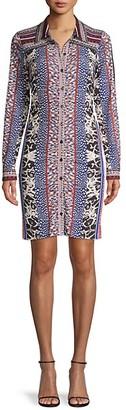 Hale Bob Mixed-Print Long-Sleeve Shirtdress