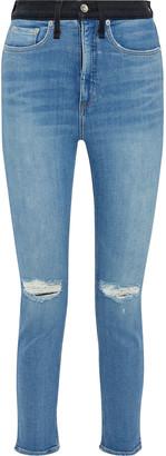 Rag & Bone Jane Distressed Two-tone High-rise Skinny Jeans