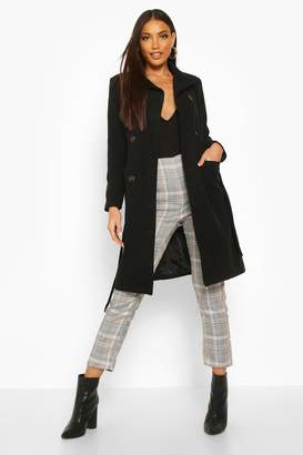 boohoo Longline Pocket Detail Wool Look Trench Coat
