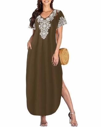 VONDA Women's Long Maxi Dress Split V Neck Short Sleeve with Side Pockets Summer