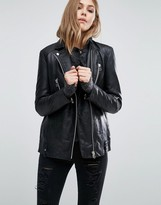 MANGO Longline Real Leather Biker Jacket