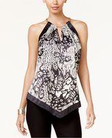 Thalia Sodi Printed Handkerchief-Hem Halter Top, Created for Macy's