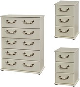 Swift Broadway Ready Assembled 3 Piece Package - 5 Drawer Chest and 2 Bedside Chests