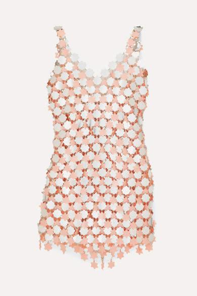 Paco Rabanne Embellished Metallic Mini Dress - Silver