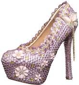 Miyoopark LL089 Women's Crystals Pink Bridal Bridesmaid Wedding Evening Pumps Shoes