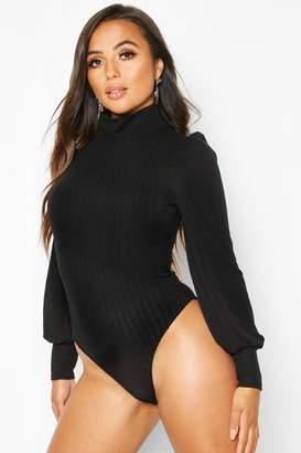 boohoo Petite Fine Knit Rib Balloon Sleeve Bodysuit