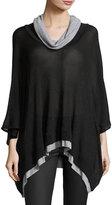 Three Dots Rebecca Cowl-Neck Layered Poncho, Black