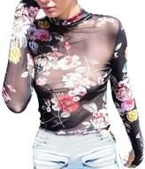 Susenstone Women Long Sleeve Sexy Transparent T-Shirt Skinny Slim Blouse Mesh Sheer Tops (S, )