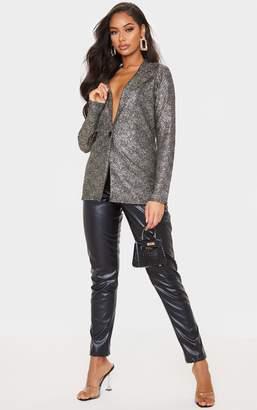 PrettyLittleThing Silver Metallic Textured Fitted Blazer