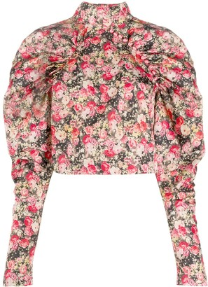 Rotate by Birger Christensen Kim floral cropped top