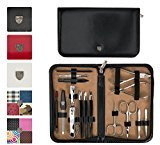 THREE SWORDS - Exclusive 16-Piece MANICURE - PEDICURE - GROOMING – NAIL CARE set / kit / case - Made in Solingen / Germany (921000)