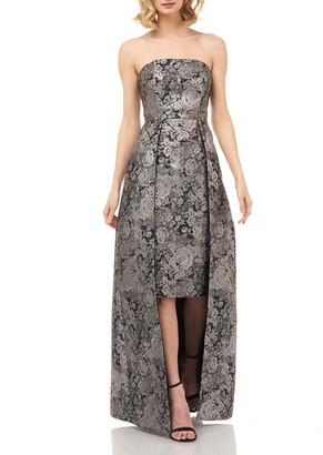 Kay Unger New York Paloma Floral Silver Jacquard Strapless Dress w/ Overlay Skirt