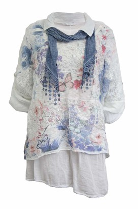 xpaccessories Italian Womens Ladies Butterfly Lagenlook Lace Baggy Oversized Scarf Shirt Top Denim Blue UK 14
