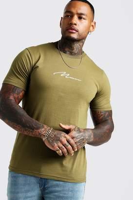 boohoo MAN Signature Embroidered T-Shirt