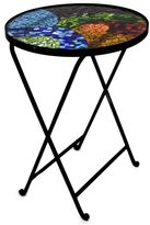 Novica Colorful Spectacle Handcrafted Multicolor Artisan Stained Glass Mosaic Top Forged Iron Folding Table (Mexico)