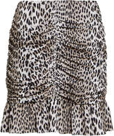 Notes Du Nord Nicci Ruched Leopard Print Skirt