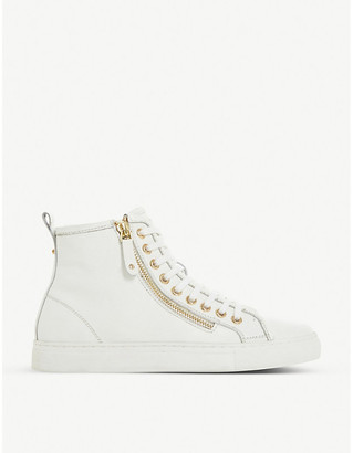 Dune Elfred zipped leather high-top trainers