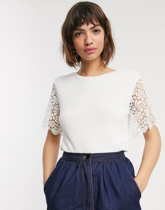 French Connection marianne lace sleeve t-shirt in white