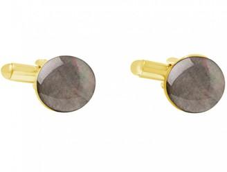 Gemshine - Cufflinks - 18k gold plated - Black Mother of Pearl - 12mm - Grey